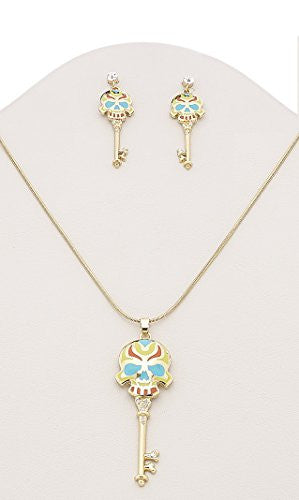 Gold Plated Colorful Sugar Skull Key Rhinestone Necklace and Earring Set