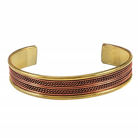 Copper Double Rope Braid with Lined Brass Cuff Bracelet