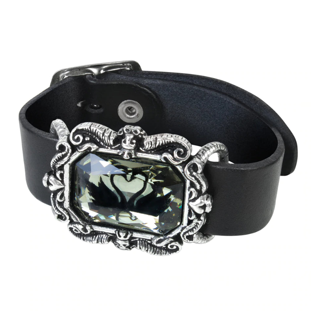 Black Swan Wriststrap Crystal & Leather Bracelet by Alchemy Gothic