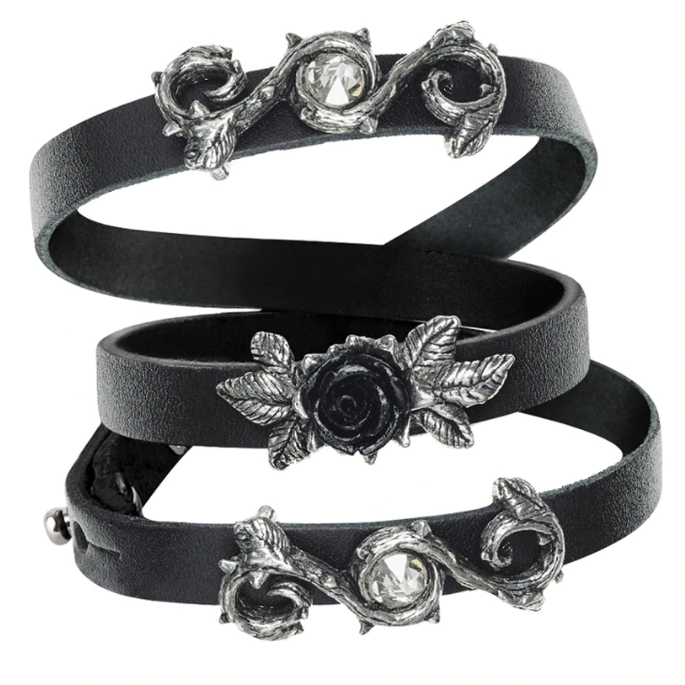 Black Rose Of Perfection Leather Wristrap Bracelet by Alchemy Gothic