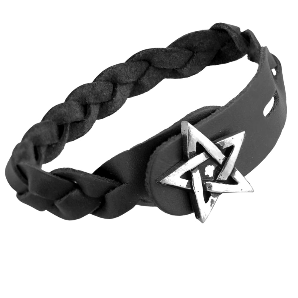 Pentagram Gaelic Plait Black Leather Bracelet by Alchemy Gothic