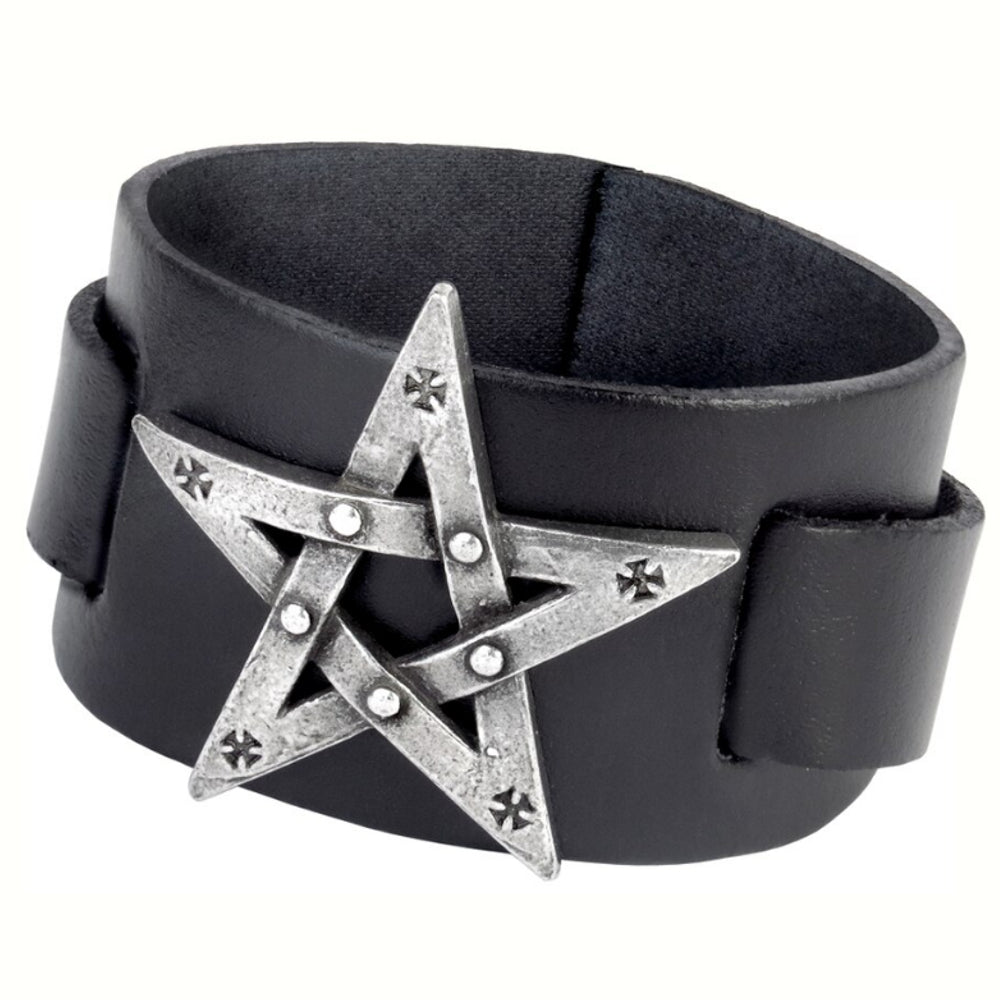 Pentagration Leather Pentagram Bracelet by Alchemy Gothic