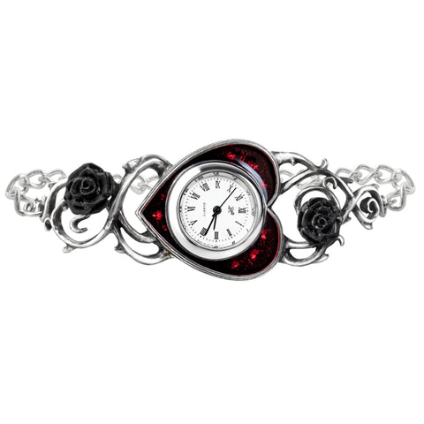 Bed of Blood Heart & Black Roses Watch Bracelet by Alchemy Gothic