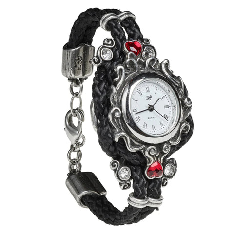 Affiance Black and Crystal Heart Watch Bracelet by Alchemy Gothic