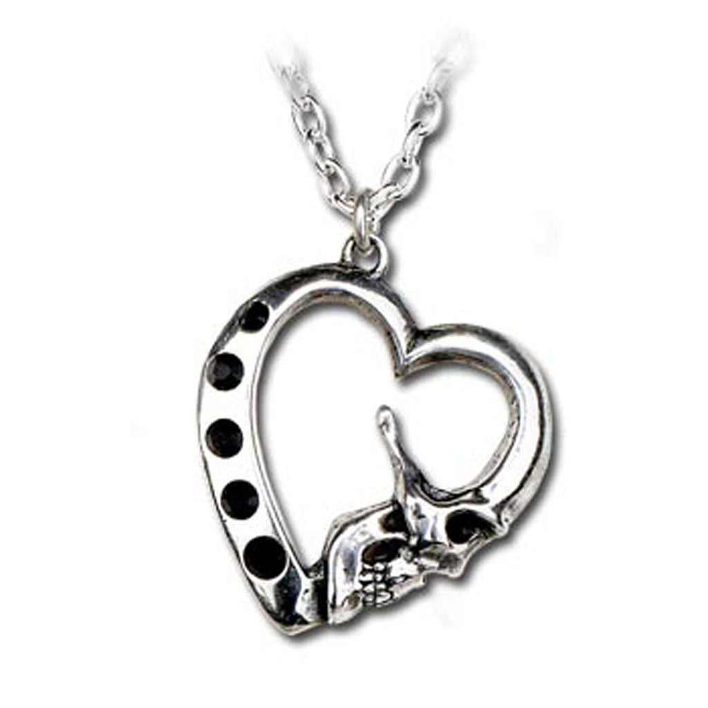 La Mort De Coeur Skull Heart Pendant Necklace by Alchemy Gothic