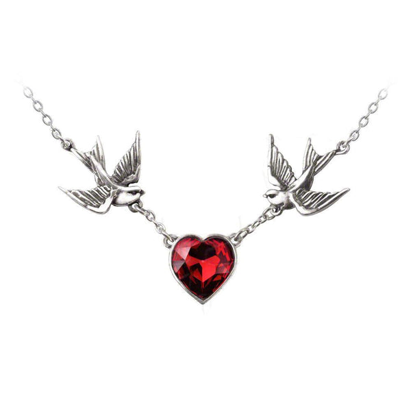 "Tattoo-Style ""Swallow Heart"" Red Crystal Heart Necklace by Alchemy Gothic"