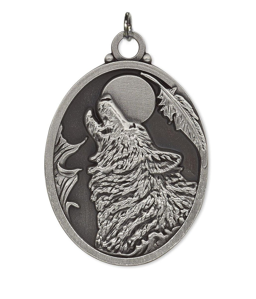 Wolf Moon Medallion Pewter Pendant