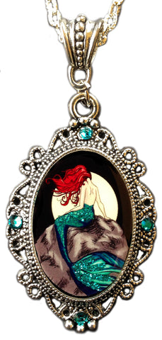 Alkemie Mermaid Cameo with Sparkles Pendant Necklace