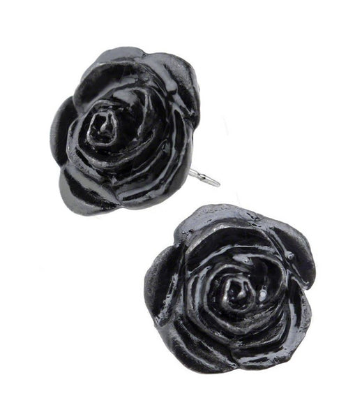 Black Rose Stud Earrings by Alchemy Gothic