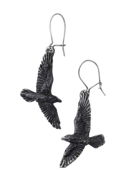 Black Raven Earrings by Alchemy Gothic
