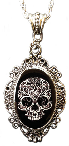 Alkemie Gothic Swirly Skull Cameo Pendant Necklace