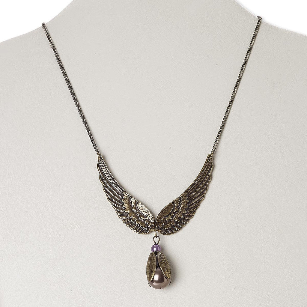 Vintage Antiqued Brass Bird Wings and Pearl Necklace