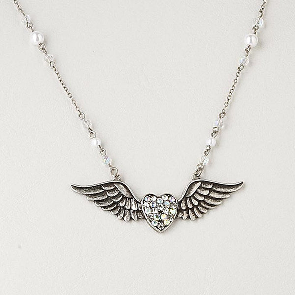 Heart with Wings Pendant on Extra Long Crystal Necklace Chain