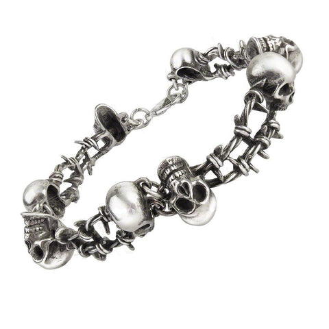 No Man's Land Barbed Wire Skull Head Bracelet by Alchemy Gothic Size Large