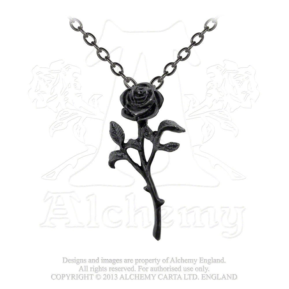 The Romance of The Black Rose Pendant by Alchemy Gothic