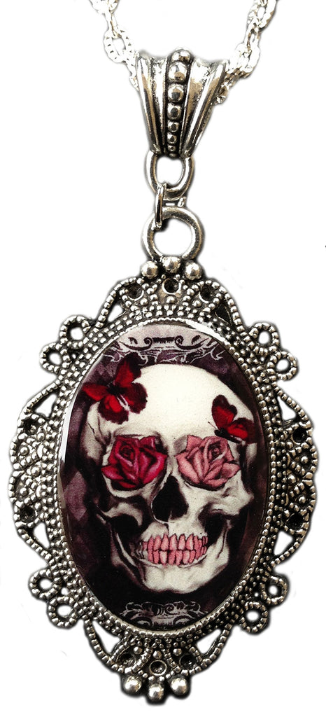 Alkemie Skull with Roses and Butterflies Cameo Pendant Necklace