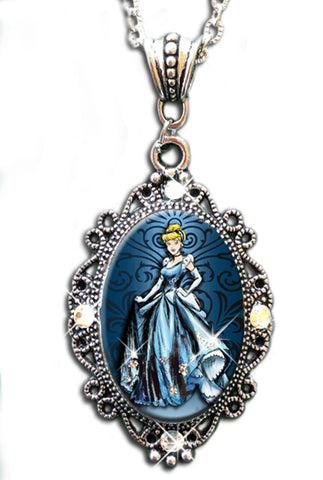 "Alkemie ""Cindy"" Cinderella with Sparkles Cameo Pendant Necklace"