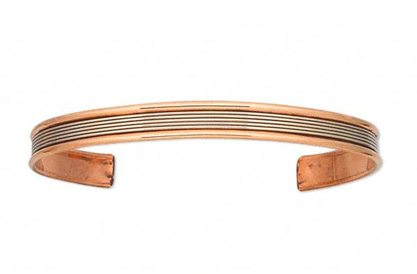 Slim Copper with Lined Brass Inlay Cuff Bracelet