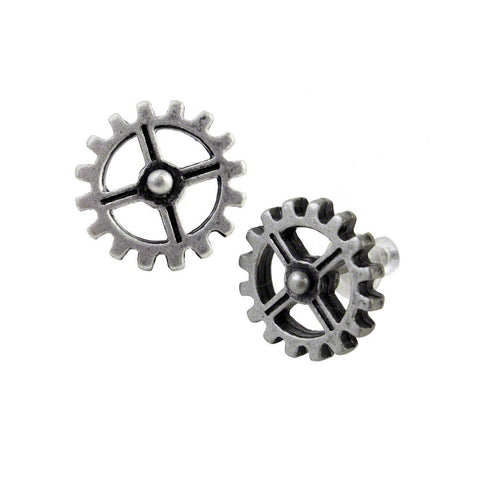Steampunk Cogwheel Industrilobe Stud Earrings By Alchemy Gothic