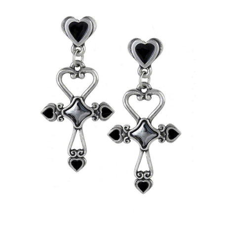 Everlasting Love Egyptian Ankh Amourankh Heart Earrings By Alchemy Gothic