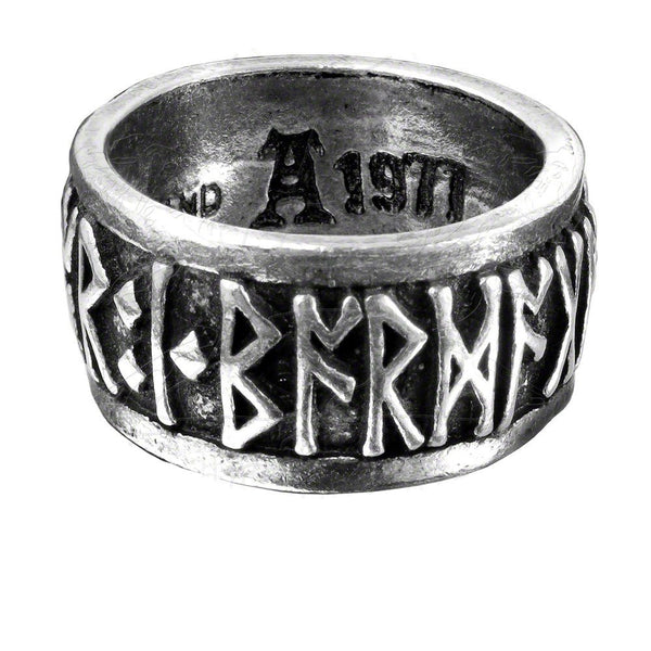 "Runeband Ring Nordic/Viking ""Poetry is in Battle"" Runes by Alchemy Gothic"