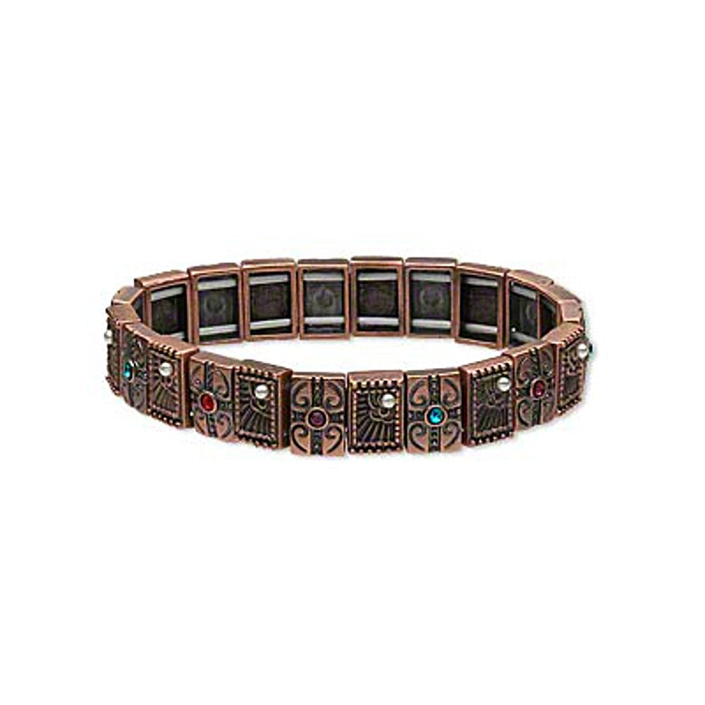 Antiqued Copper-plated Tile Stretch Bracelet with Crystal Rhinestones