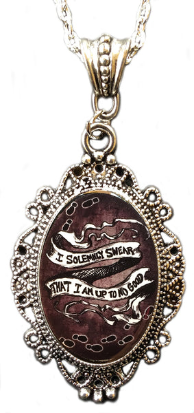 "Alkemie Harry Potter ""I Solemnly Swear"" Marauder's Map Cameo Pendant Necklace"
