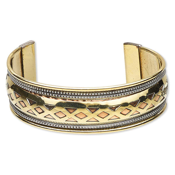Diamond Cutout Brass Copper Steel Cuff Bracelet