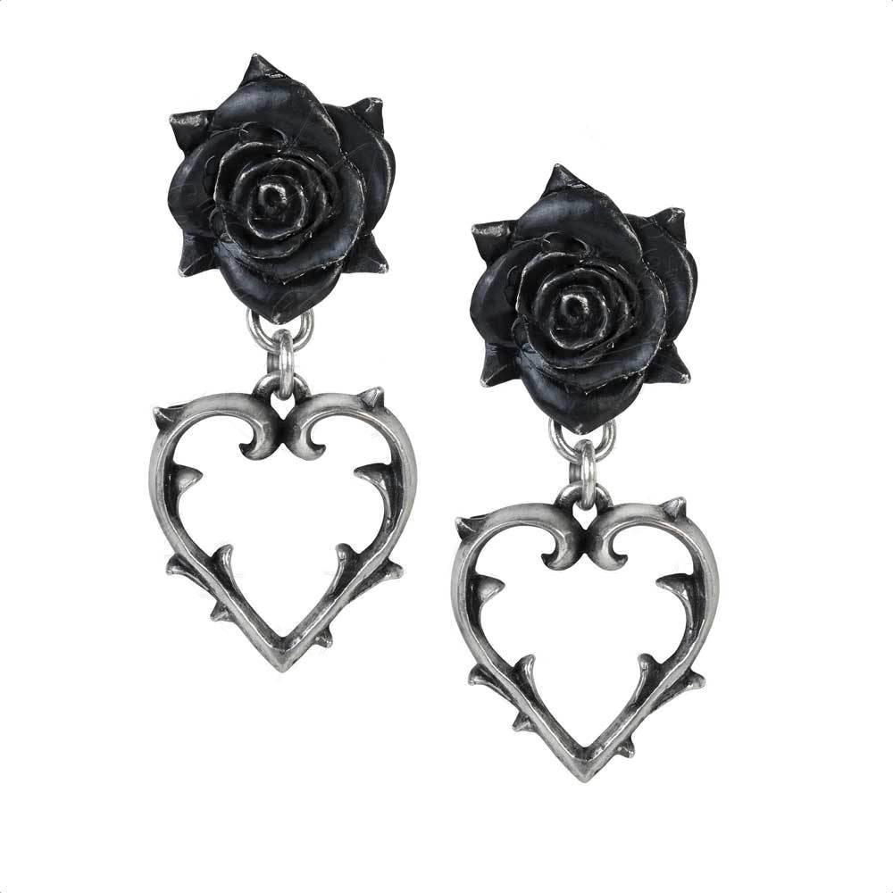 Wounded Love Earrings with Thorny Hearts and Gothic Black Roses