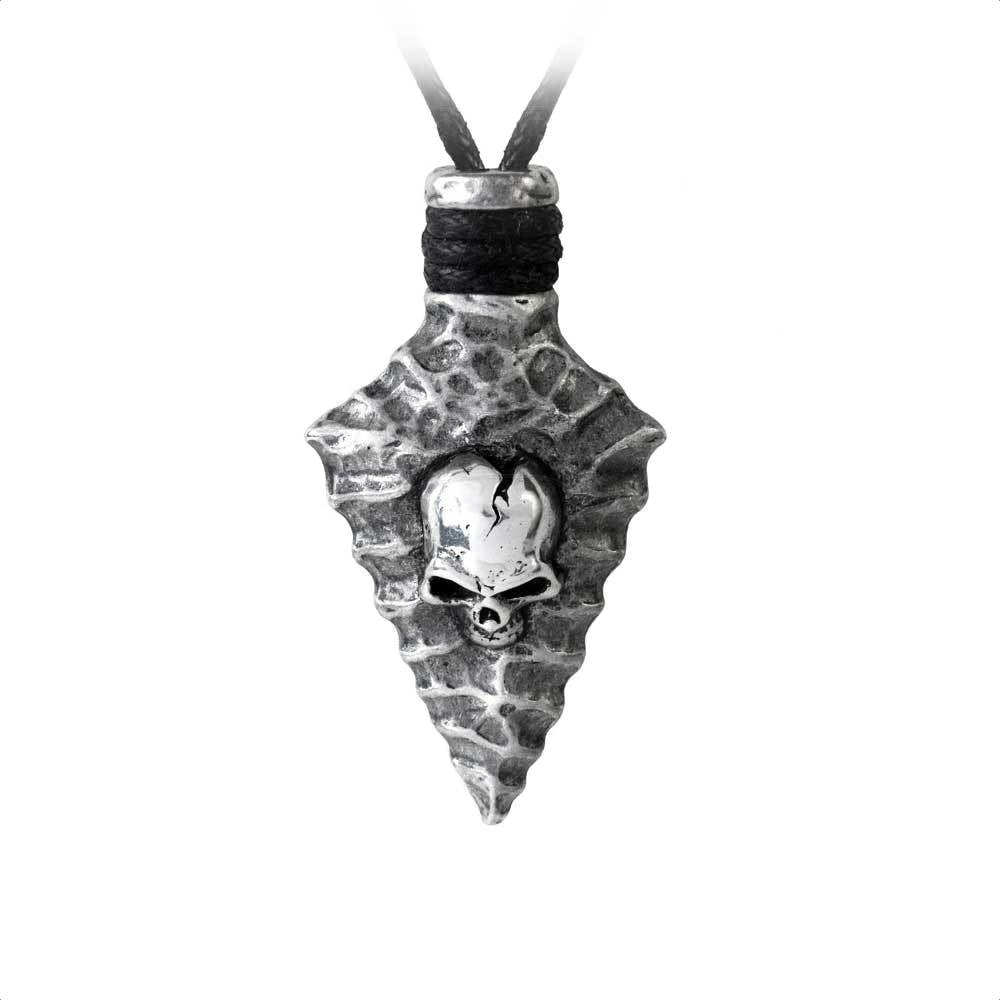 Capitaneus Gothic Skull Arrowhead Pendant Necklace