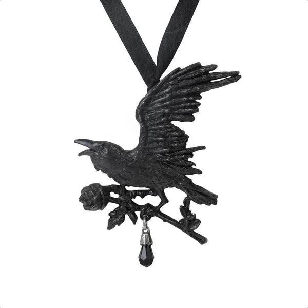 Harbinger Pendant Necklace with Raven and Gothic Black Rose