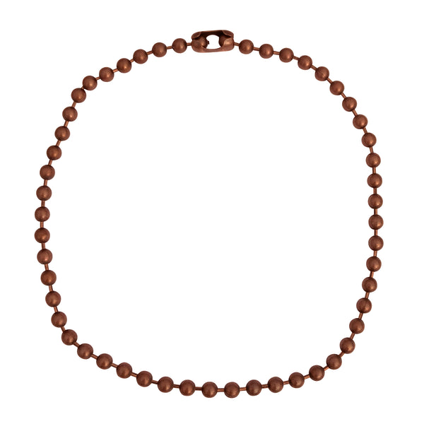 6.3mm Large Antique Copper Ball Chain Mens Necklace