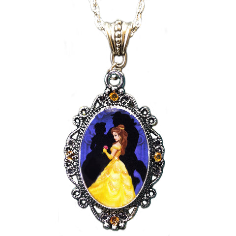 Alkemie Belle Beauty and the Beast Cameo Pendant Necklace with Sparkles