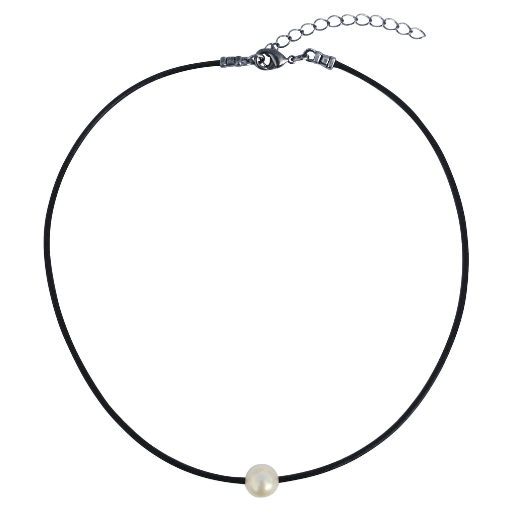 "DragonWeave Single Genuine AAA Freshwater Pearl Choker Necklace Handmade on 2mm Fine Black Leather Cord 14"" to 16"""