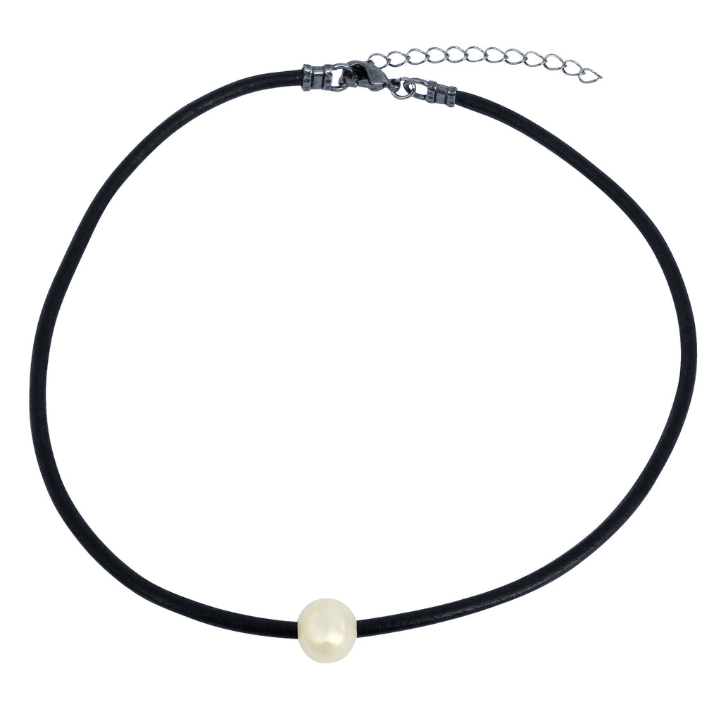 "DragonWeave Single Genuine AAA Freshwater Pearl Choker Necklace Handmade on 3mm Thick Black Leather Cord 14"" to 16"""
