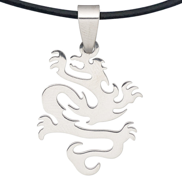 DragonWeave Steel Dragon Pendant Necklace on Adjustable Black Leather Cord