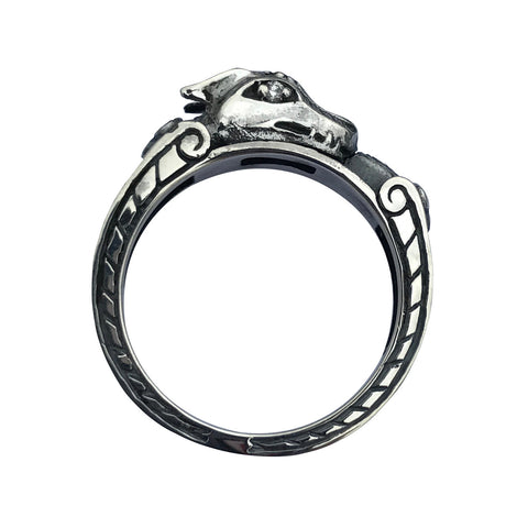 Dragon Ring Diamond Engagement Gothic Ringband in Sterling Silver
