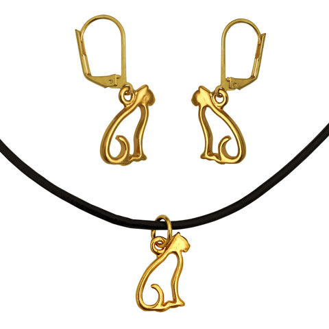 DragonWeave Cat Charm Necklace and Earring Set, Gold Plated Black Leather Choker and Leverback Earrings