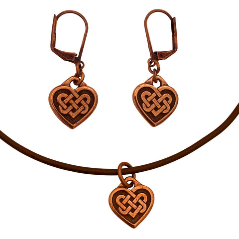 DragonWeave Celtic Heart Charm Necklace and Earring Set, Antique Copper Brown Leather Choker and Leverback Earrings