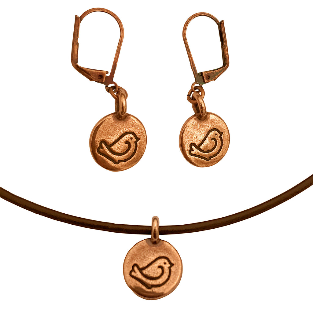 DragonWeave Bird Circle Charm Necklace and Earring Set, Antique Copper Brown Leather Choker and Leverback Earrings