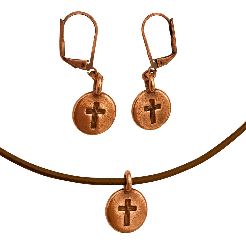 DragonWeave Cross Circle Charm Necklace and Earring Set, Antique Copper Brown Leather Choker and Leverback Earrings