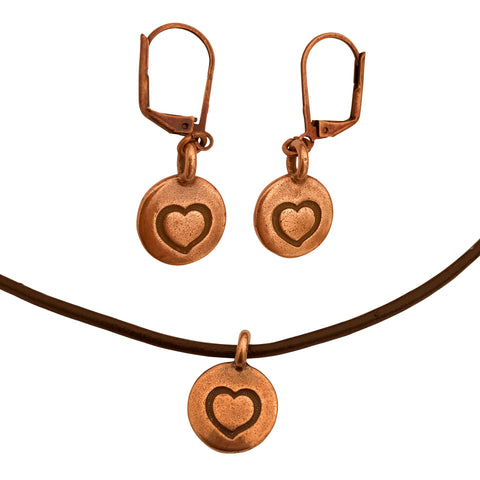 DragonWeave Heart Circle Charm Necklace and Earring Set, Antique Copper Brown Leather Choker and Leverback Earrings