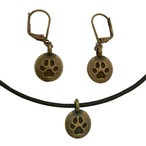DragonWeave Paw Circle Charm Necklace and Earring Set, Antique Brass Black Leather Choker and Leverback Earrings