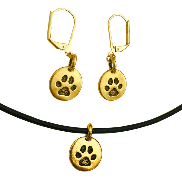 DragonWeave Paw Circle Charm Necklace and Earring Set, Antique Gold Black Leather Choker and Leverback Earrings