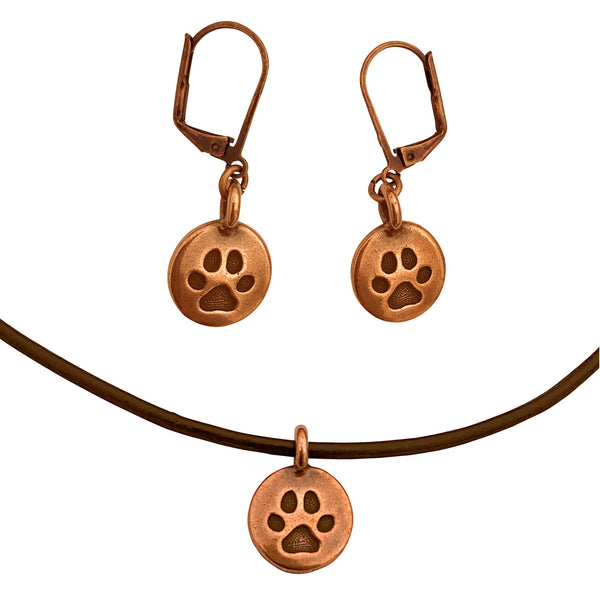 DragonWeave Paw Circle Charm Necklace and Earring Set, Antique Copper Brown Leather Choker and Leverback Earrings