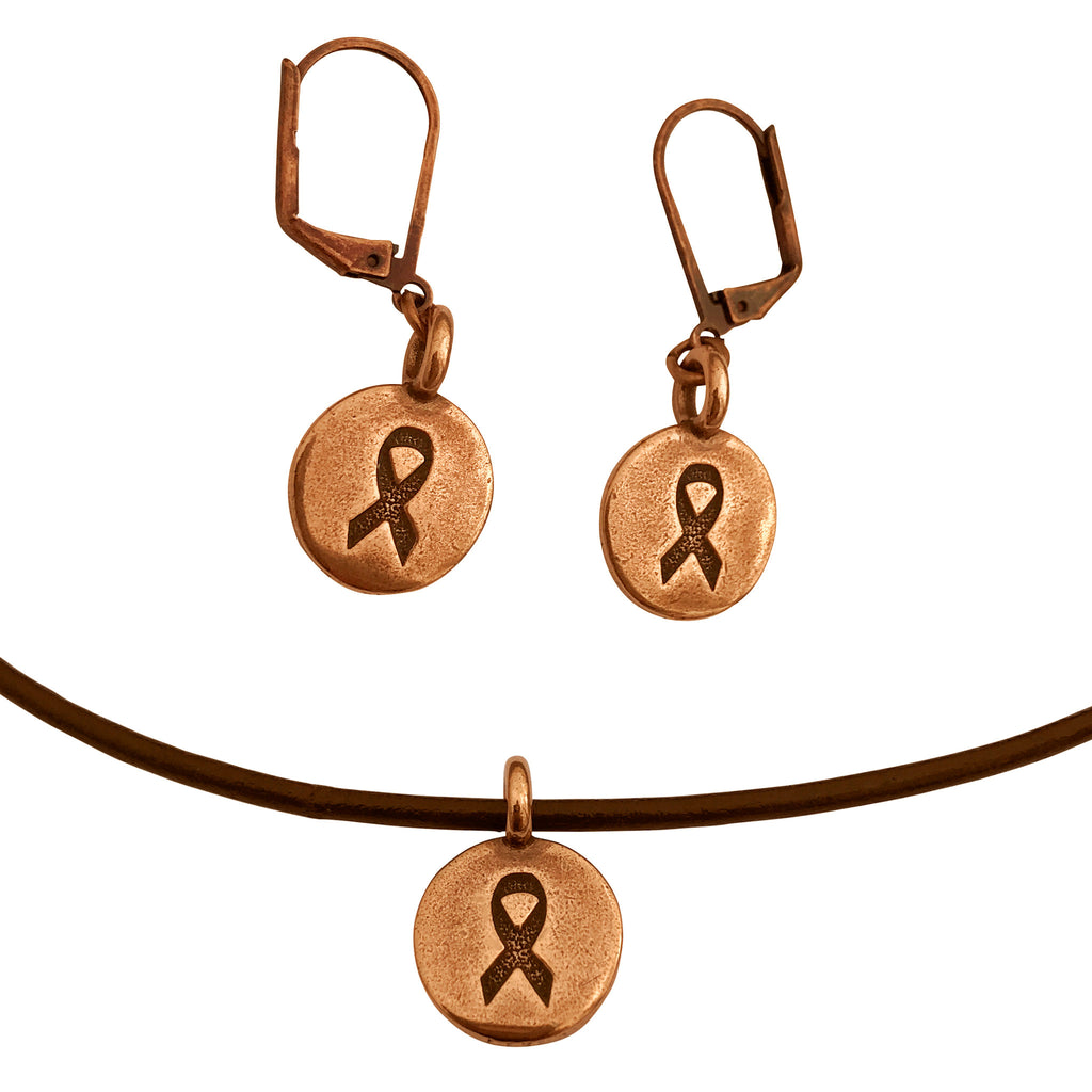 DragonWeave Ribbon Circle Charm Necklace and Earring Set, Antique Copper Brown Leather Choker and Leverback Earrings