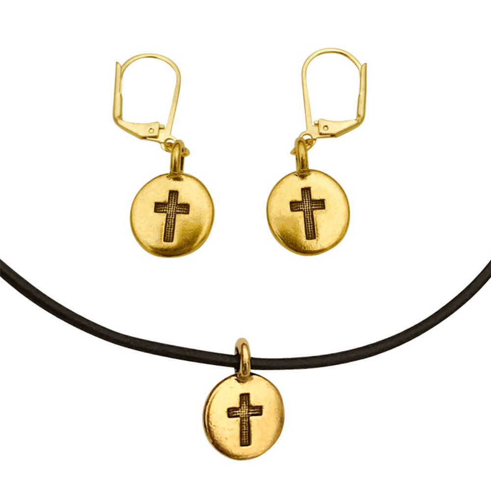 DragonWeave Cross Circle Charm Necklace and Earring Set, Gold Plated Black Leather Choker and Leverback Earrings