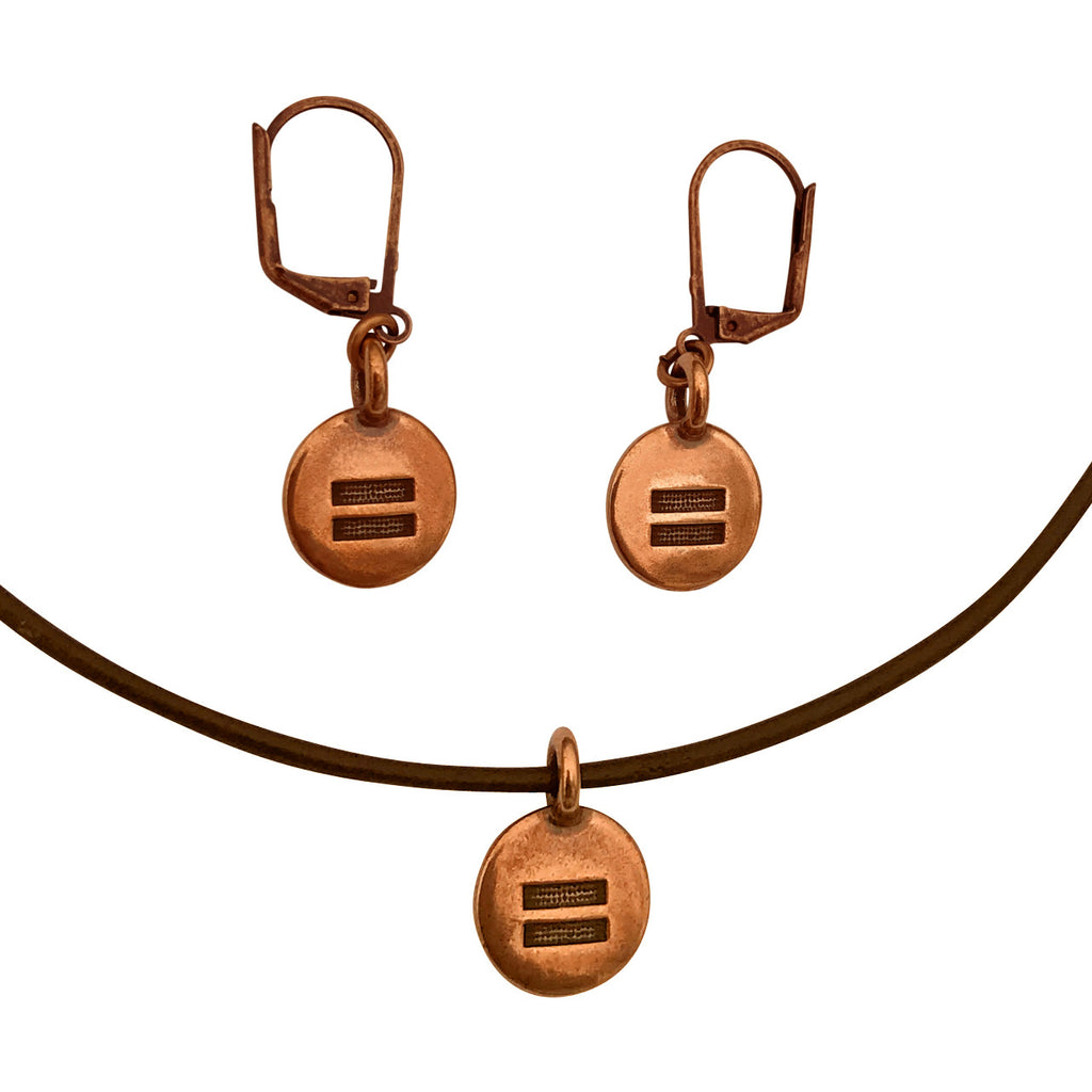 DragonWeave Equality Circle Charm Necklace and Earring Set, Antique Copper Brown Leather Choker and Leverback Earrings