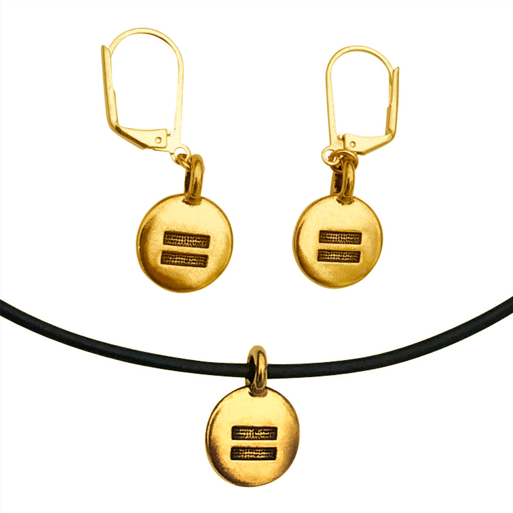 DragonWeave Equality Circle Charm Necklace and Earring Set, Gold Plated Black Leather Choker and Leverback Earrings