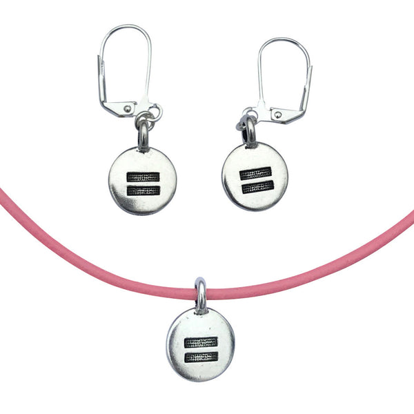 DragonWeave Equality Circle Charm Necklace and Earring Set, Silver Plated Pink Leather Choker and Leverback Earrings